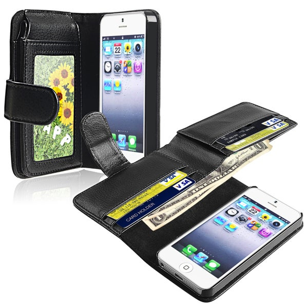 Insten Folio Flip Leather Wallet Flap Pouch Phone Case with Wallet for Apple iPhone 5/ 5S