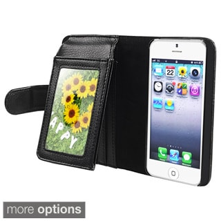 BasAcc Black Leather Case with Wallet for Apple iPhone 5