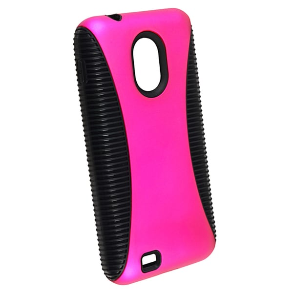 INSTEN Black TPU/ Hot Pink Hybrid Phone Case Cover for Samsung Epic 4G Touch D710