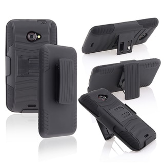 BasAcc Black/ Black Hybrid Case with Holster/ Stand for HTC EVO 4G LTE