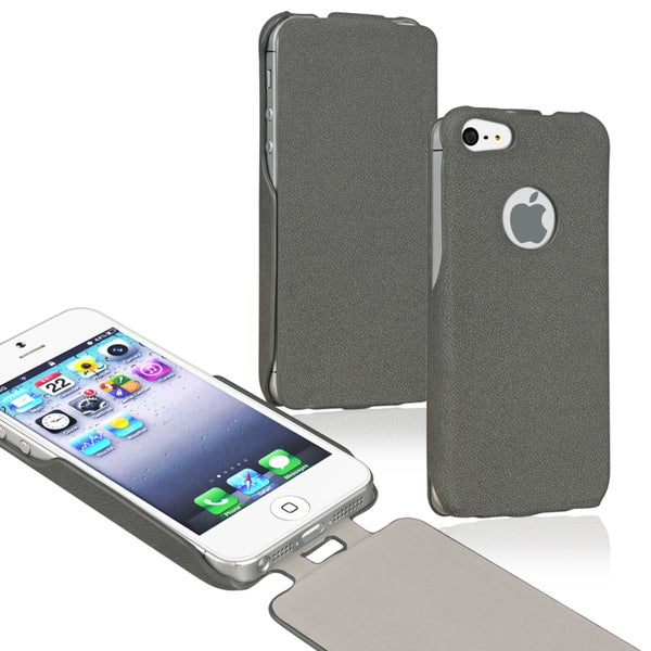 BasAcc Grey Leather Flip Case for Apple® iPhone 5