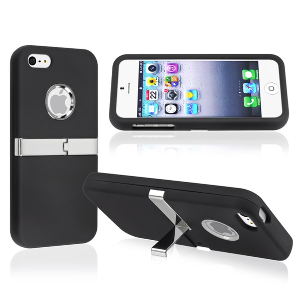 INSTEN Black with Chrome Stand Snap-on Phone Case Cover for Apple iPhone 5/ 5S