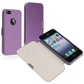 BasAcc Purple Leather Case with Magnetic Flap for Apple� iPhone 5