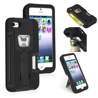 BasAcc Black/ Black Hybrid Case with Stand for Apple� iPhone 5