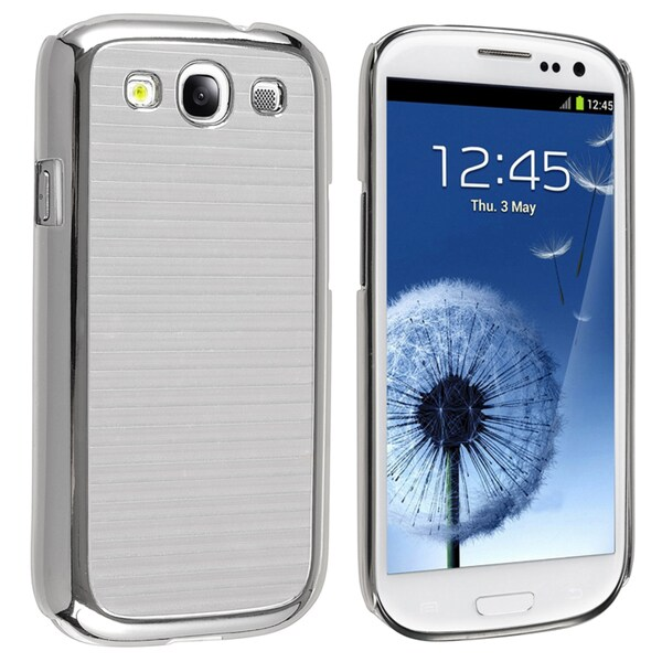 INSTEN Silver Stripe Snap-on Phone Case Cover for Samsung Galaxy SIII / S3