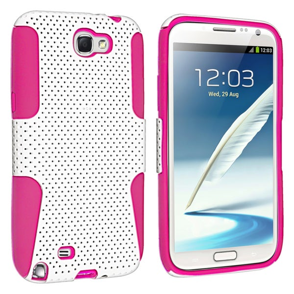 BasAcc Hot Pink/ White Hybrid Case for Samsung© Galaxy Note II N7100