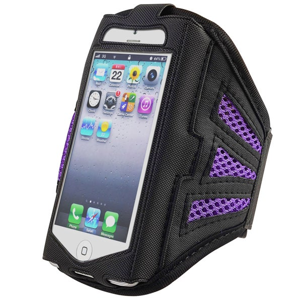 INSTEN Black/ Purple Deluxe ArmBand for Apple iPhone 5/ iPod/ 5S