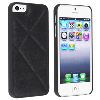 BasAcc Black Quilted Leather Snap-on Case for Apple� iPhone 5