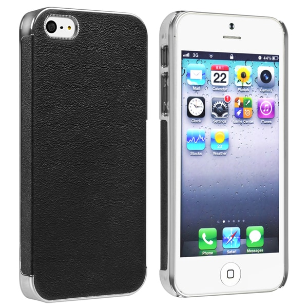 INSTEN Chrome/ Black Leather Snap-on Phone Case Cover for Apple iPhone 5
