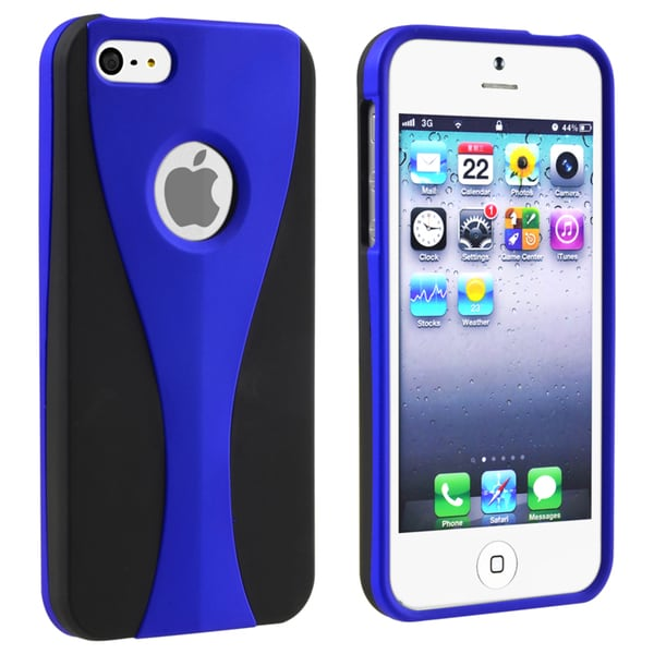 INSTEN Dark Blue/ Black Cup Shape Snap-on Phone Case Cover for Apple iPhone 5