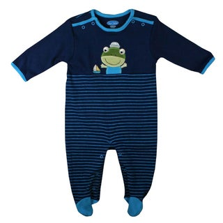 Bon Bebe Newborn Boy's Dark Blue Frog Coverall