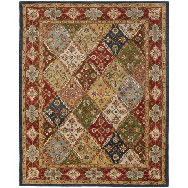 Safavieh Handmade Diamonds Bakhtiari Green/ Red Wool Rug