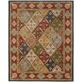Handmade Diamonds Bakhtiari Green/ Red Wool Rug