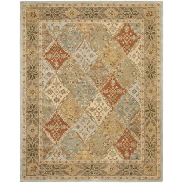 Safavieh Handmade Diamonds Bakhtiari Light Blue/ Light Brown Wool Rug