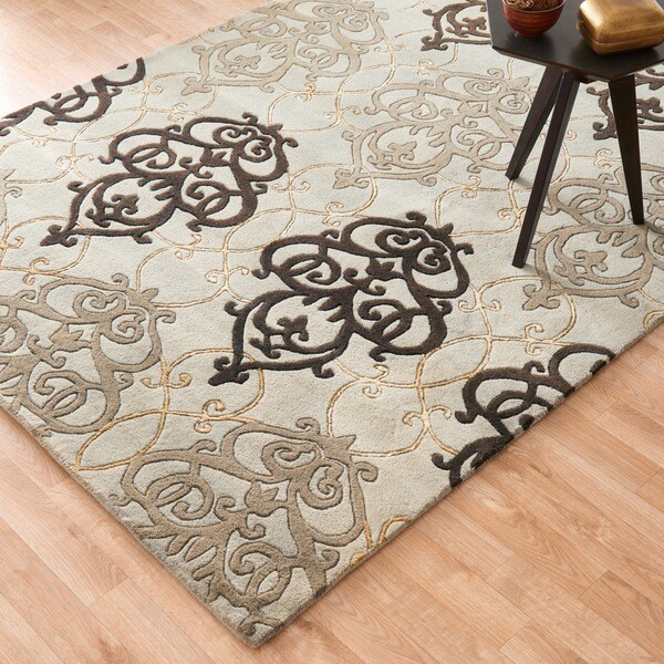 Hand-tufted Lionel Blue Wool Rug