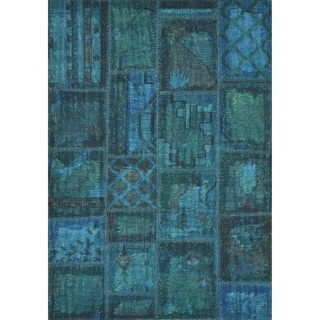 Hand-woven Ava Wool Blue Patchwork Rug