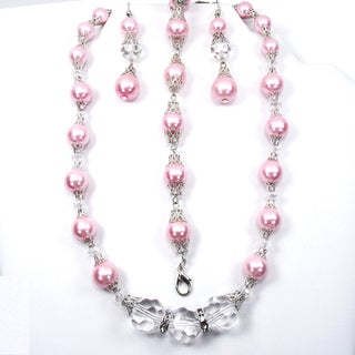 Silverplated Pink Glass Pearl and Clear Crystal Wedding Jewelry Set