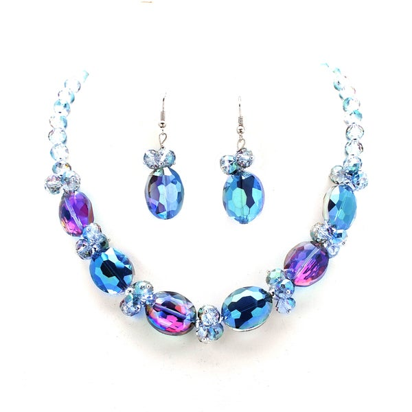 Blue Alexandrite Oval Crystal Necklace and Earring Set