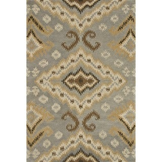 Hand-tufted Wilson Slate/ Gold Wool Rug