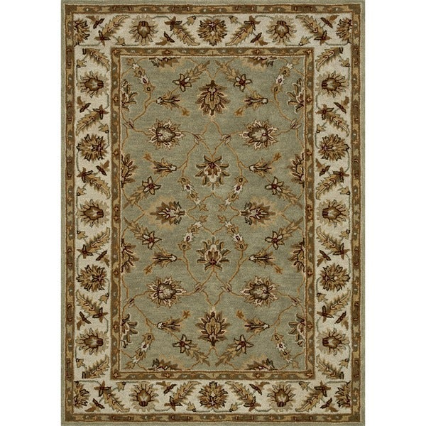 Hand-tufted Wilson Green/ Cream Wool Rug