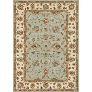 Hand-tufted Wilson Turquoise/ Ivory Wool Rug