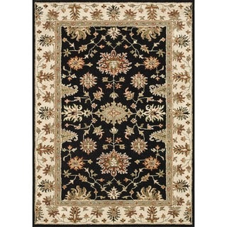 Hand-tufted Wilson Black/ Ivory Wool Rug