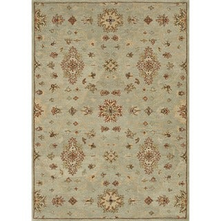 Hand-tufted Wilson Turquoise Wool Rug
