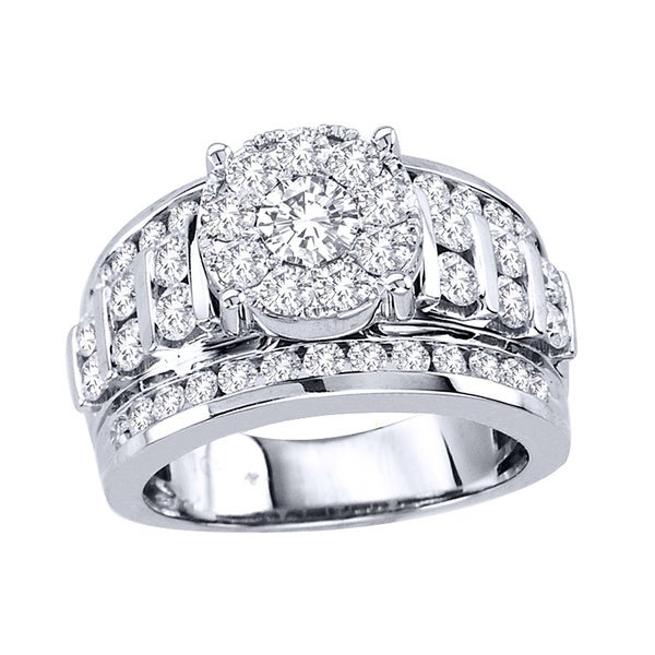De Couer 10k White Gold 2ct TDW Multi Stone Diamond Ring (H-I, I2)