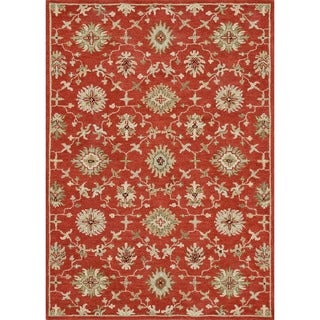 Hand-tufted Wilson Red/ Orange Wool Rug