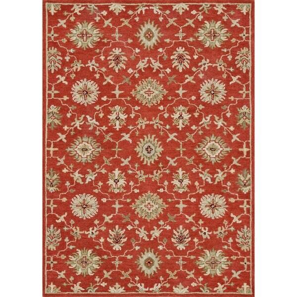 Hand-tufted Wilson Red/ Orange Wool Rug