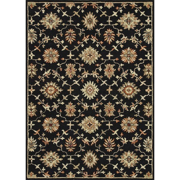 Hand-tufted Wilson Black Wool Rug
