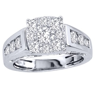 De Couer 10k White Gold 2ct TDW Diamond Engagement Ring (H-I, I2) with Bonus Necklace