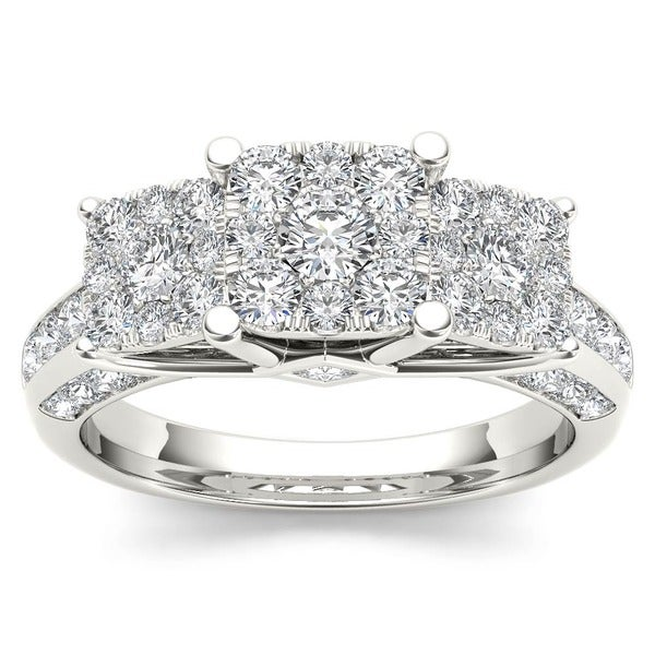 De Couer 10k White Gold 1 1/2ct TDW Diamond Engagement Ring (H-I, I2)