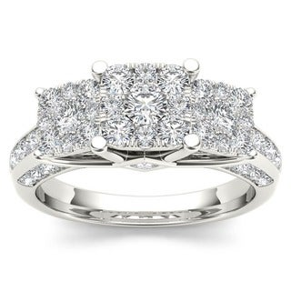 De Couer 10k White Gold 1 1/2ct TDW Diamond Engagement Ring (H-I, I2) with Bonus Necklace