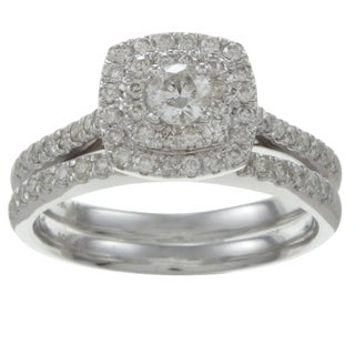 10k White Gold 3/4ct TDW Diamond Double Halo Bridal Ring Set (H-I, I2)
