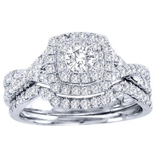 De Couer  10k White Gold 7/8ct TDW Diamond Double Halo Bridal Ring Set (H-I, I1-I2)