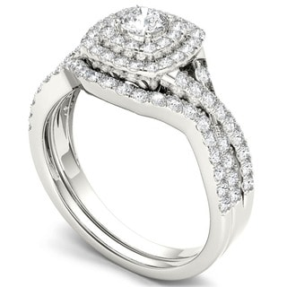 10k White Gold 7/8ct TDW Diamond Double Halo Bridal Ring Set (H-I, I1-I2)