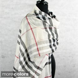 Large Plaid Sheer Fringed Fashion Scarf