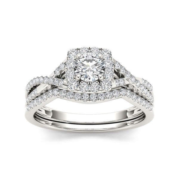 De Couer 10k White Gold 3/4ct TDW Diamond Halo Bridal Ring Set (H-I, I2)