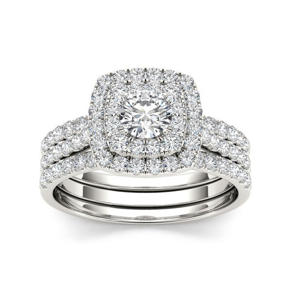 De Couer 10k White Gold 1 1/2 ct TDW Diamond Halo Engagement Ring Set (H-I, I2)