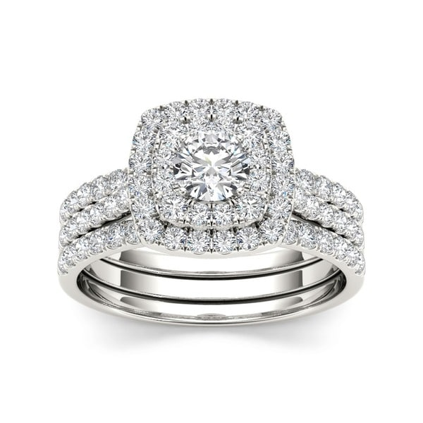 10k White Gold 1 1/2 ct TDW Diamond De Couer Engagement Ring Set