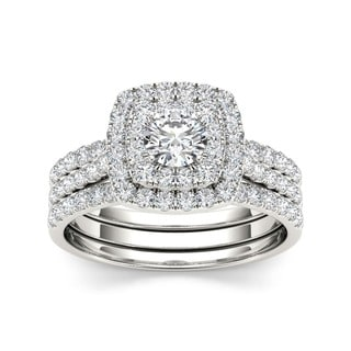 De Couer  10k White Gold 1 1/2ct TDW Diamond Double Halo Bridal Ring Set (H-I, I2)