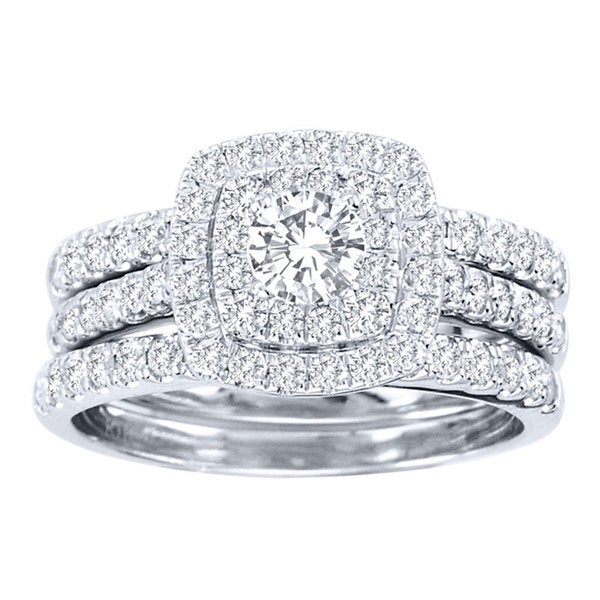 De Couer 10k White Gold 1 1 2ct TDW Diamond Double Halo Bridal Ring Set H I