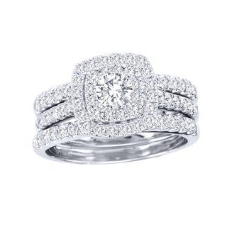 De Couer  10k White Gold 1 1/2ct TDW Diamond Double Halo Bridal Ring Set (H-I, I2)