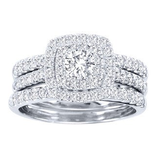 De Couer  10k White Gold 1 1/2ct TDW Diamond Double Halo Bridal Ring Set (H-I, I2) with Bonus Necklace