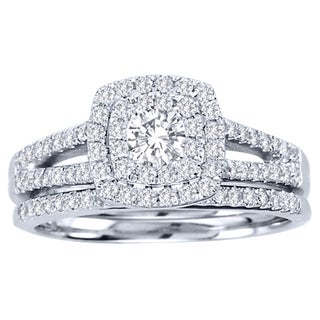 De Couer  10k White Gold 3/4ct TDW Diamond Double Halo Bridal Ring Set (H-I, I2) with Bonus Necklace
