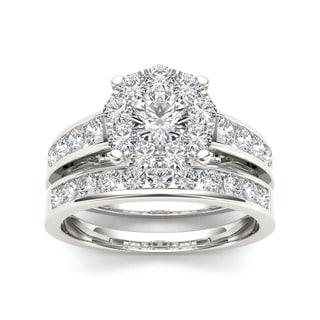 De Couer 10k White Gold 1 1/2ct TDW Diamond Bridal Ring Set (H-I, I2)