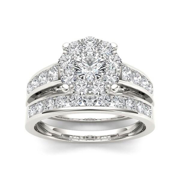 De Couer 10k White Gold 1 1/2 ct TDW Diamond Engagement Ring Set (H-I, I2)