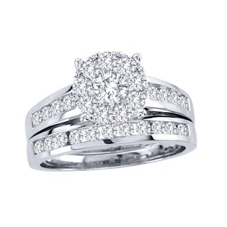 De Couer 10k White Gold 1 1/2ct TDW Diamond Bridal Ring Set (H-I, I2)