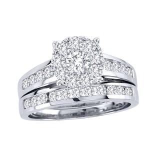 De Couer 10k White Gold 1 1/2ct TDW Diamond Bridal Ring Set (H-I, I2) with Bonus Necklace